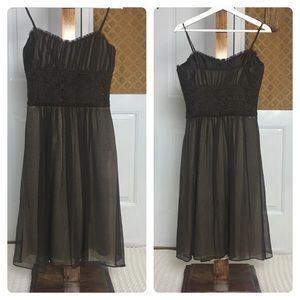 Phoebe Couture Brown Sheer Lined Dress Size 6